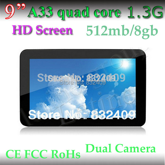 Free Shipping A33 quad core android tablet pc 9 inch kit kat 4.4 OS 1.5GHz HD Screen 800*480 512mb/8GB mini pc with wifi(China (Mainland))