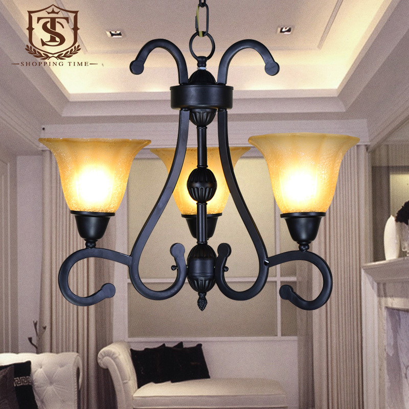 American iron chandelier cheap 3 arm lighting fixture for Inexpensive chandeliers for dining room