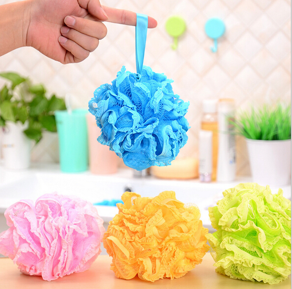 Loofah Flower Bath Brushes, Sponges & Scrubbers Tubs Cool Ball Bath Towel Scrubber Body Cleaning Mesh Shower Wash Sponge BH036(China (Mainland))