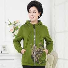 XL XXL XXXL XXXXL Large Size Women'S Hoodie Autumn/Winter Middle Aged Mother Fashion Casual Printed Hooded Coat (China (Mainland))