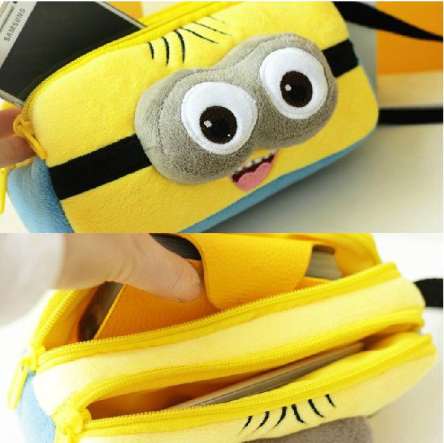2015 New Cute Plush 3D Despicable Me Minions Pencil Bag Zipper Pen Case Multifunction Stationery Pouch School Supplies Trousse(China (Mainland))