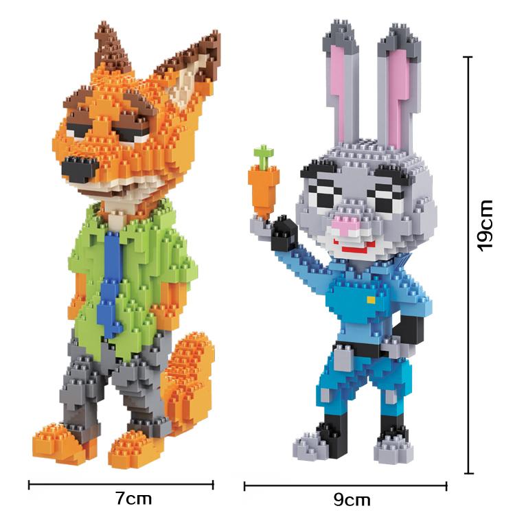 HC Magic Blocks Anime Zootopia DIY Building Bricks Fox 3D Auction Figure Micro Blocks Rabbit Kids toys Girls Gifts 9011-9012(China (Mainland))