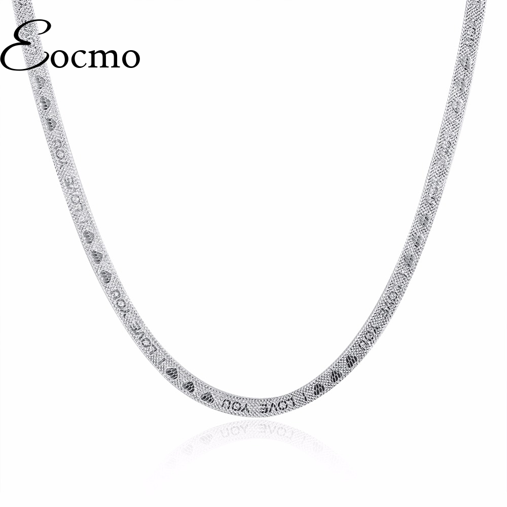 """Silver Necklace Short Blade Necklace of Clavicle Silver Plated Accessories Jewelry Flat Snake """"I LOVE YOU"""" Letters Heart Chain(China (Mainland))"""