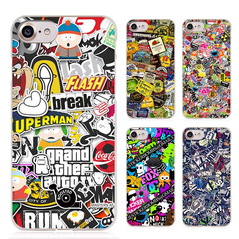 Sticker Bomb Illustration Pattern Clear Cell Phone Case Cover for Apple iPhone 4 4s 5 5s SE 5c 6 6s 7 Plus(China (Mainland))