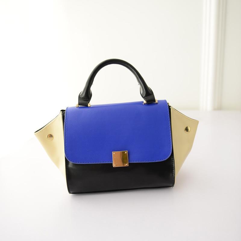 2015 smiley portable women's handbag fashion color block swing bag candy patchwork shoulder bag(China (Mainland))