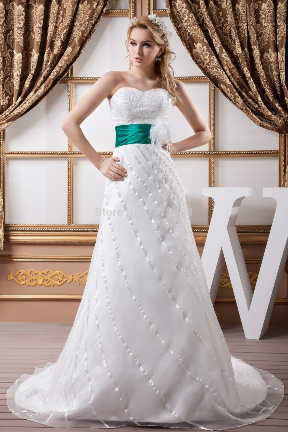 Green and white wedding dresses with floor length chapel for White and green wedding dress