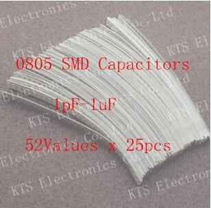 0805 SMD Ceramic Capacitor Assorted Kit 1pF~1uF 52values*25pcs=130Chip Samples kit