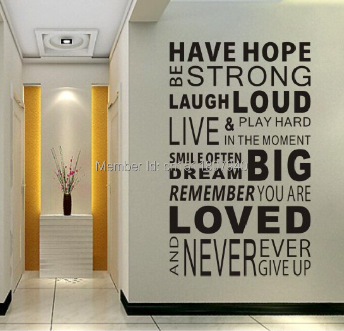 free shipping have hope sticker family rules home decor