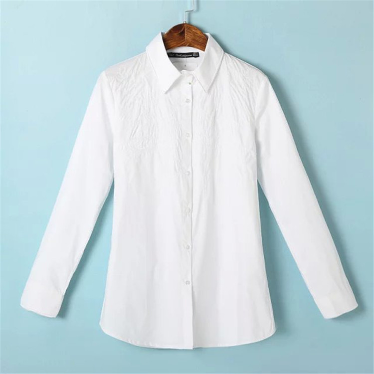 Embroidery Pattern White Blouse Shirt Women Spring
