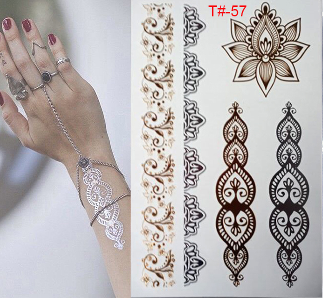 gold tattoo sex products bracelets tattoo metal temporary tattoo women flash metal fake gold Silver tattoos
