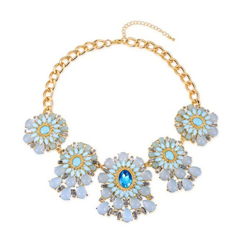 ROXI Brand 18K Gold Plated Opal Stone Bohemian Flower Luxury Blue Sapphire Collarbone Necklaces For Women Jewelry 20304931700(China (Mainland))