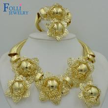 Folli Top Exquisite Dubai Jewelry Set Luxury 14K Gold Plated Big Nigerian Wedding African Beads Jewelry Set Costume Design(China (Mainland))