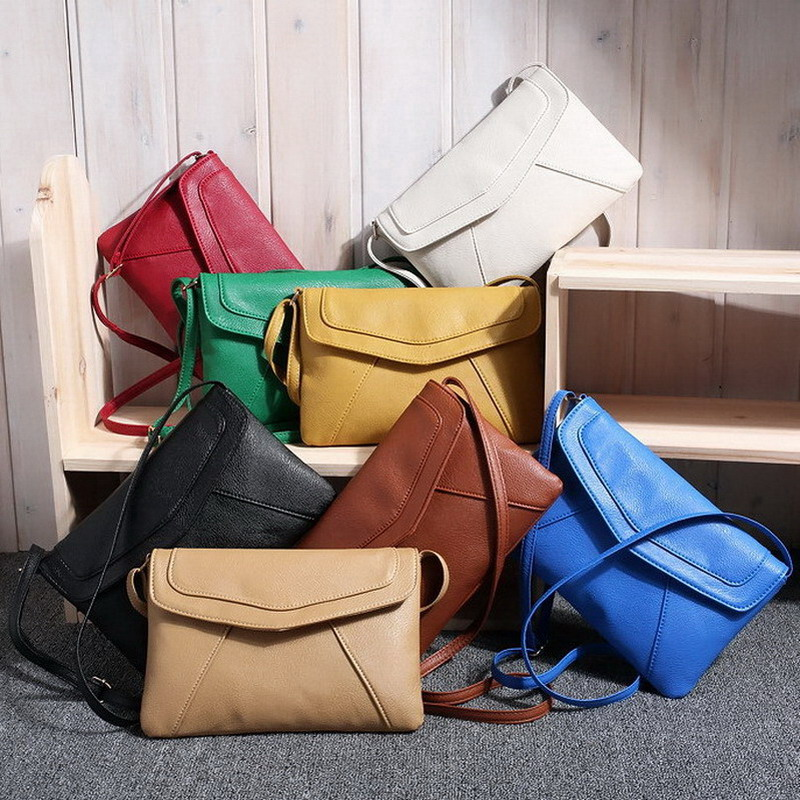 Casual Vintage Small Women Bags Leather Messenger Bag Retro Envelope Bag Handbag and Purse Sling Crossbody Shoulder Bag Thin(China (Mainland))