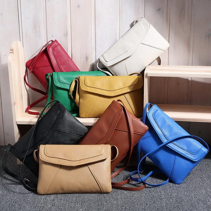 Casual Vintage Small Women Crossbody Bags Girl Leather Messenger Bag Retro Envelope Bag Handbag Purse Sling Shoulder Bag Thin(China (Mainland))