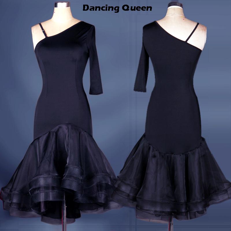 Adult/Child Latin Dance Dress Women Black Cha Cha/Rumba/Samba Fitness Lady/Girls Vestidos Infantis De Festa Roupas De Meninos(China (Mainland))