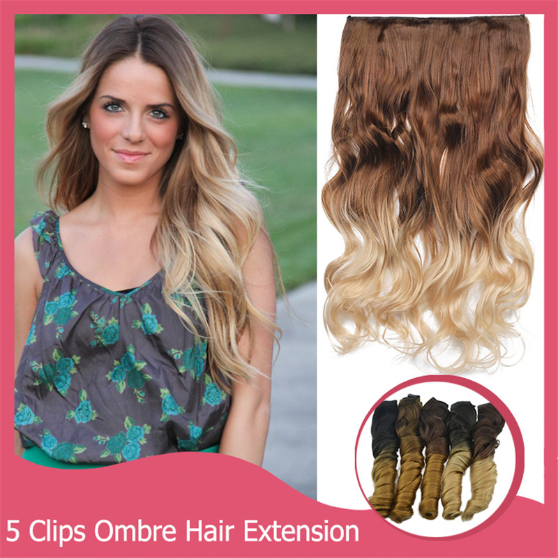 1PC Clip In Hair Extension 60cm 130g Natural Long 2 Tones Wavy Curly Hairpiece 5 clips Gradient Ombre Hair Extensions 888<br><br>Aliexpress