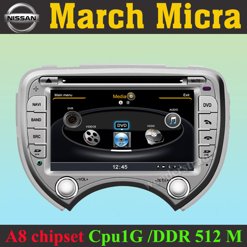New Car DVD Player radio GPS for Nissan March Micra + 3G WIFI Internet + 1GB cpu + DDR 512M RAM + A8 Chipset + Russian menu +(China (Mainland))