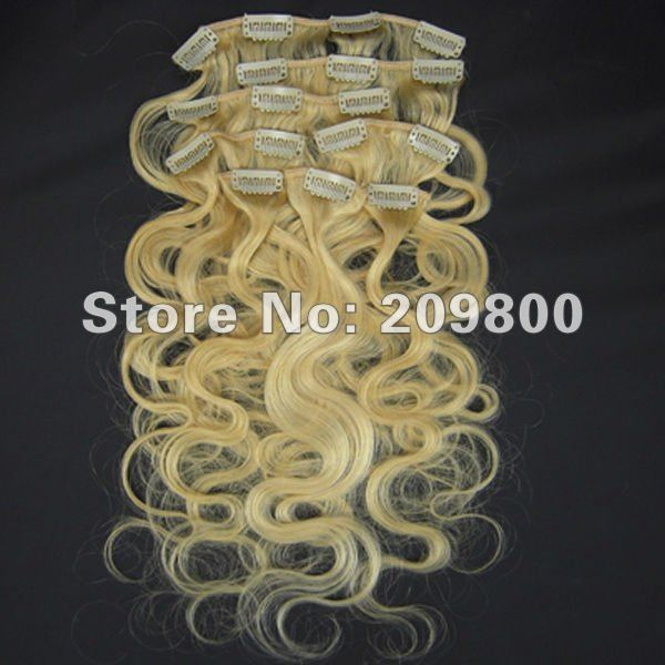"""Guarantee 100% human hair 1Set 20"""" 8pcs hot sales Wavy Human Clips in/on Extensions #613-blonde,100g with clips"""