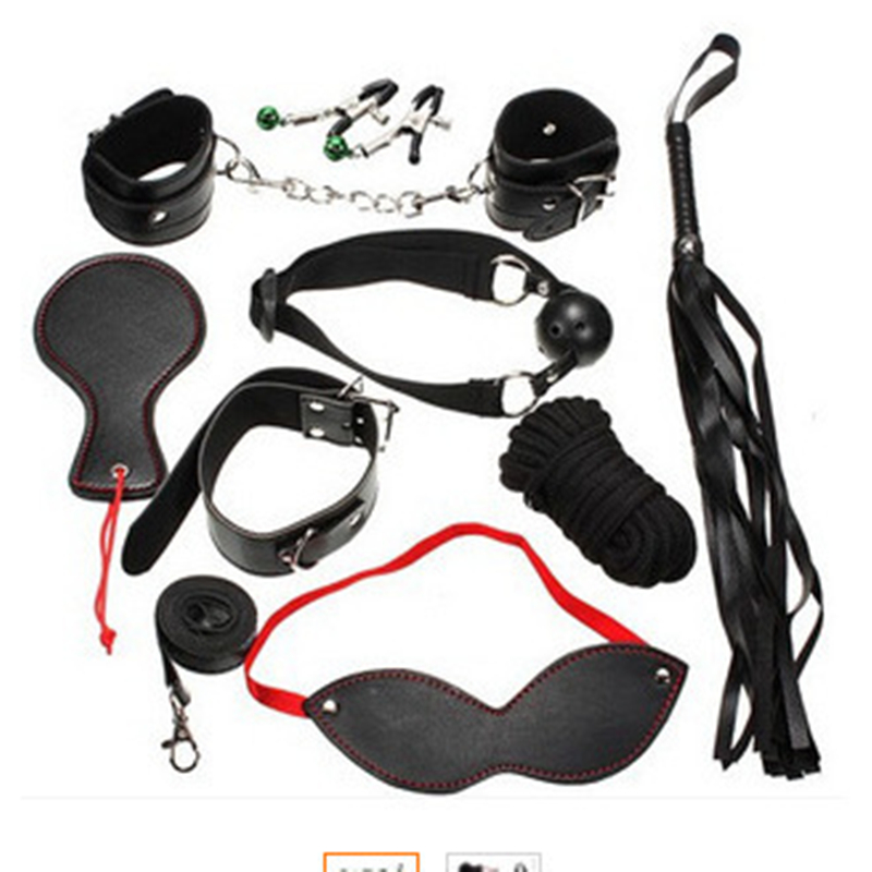 8pcs/set Woman Adult game restraint sex products Role Play Fetish Restraint Bondage Kit Mask Ball Gag HandCuffs Sex toy for man(China (Mainland))