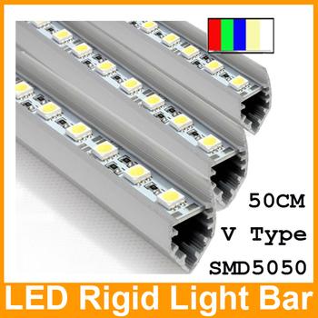 Wholesale!!! 40pcs LED  light bars rigid led strip 0.5m 36LED IP20 12V SMD 5050 with aluminium profile and end cap free by FEDEX