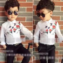 2016 new spring children's wear Korean boy long sleeved white shirt shirt jacket