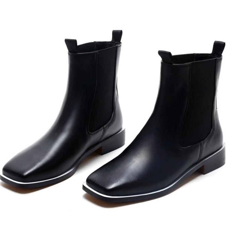 Фотография 2016 Autumn brand design women genuine full grain leather flat heel ankle boots shoes woman square toe short boot high-end