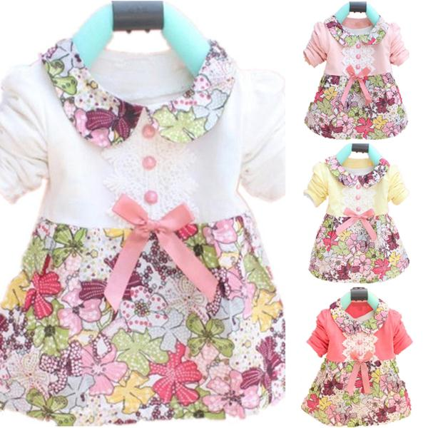 Wholesale Toddler Baby Girls Floral Princess Dress Bowknot One Piece Kids Dress 0-2YFree Shipping & Drop Shipping