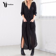 black long maxi tshirt dress 2015 new arrival women fashion chiffon long maxi dress shirt dress black army green grey with belt