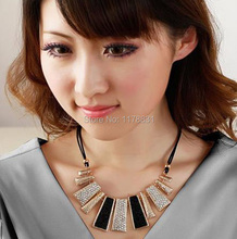 New Style Vintage Black Rope Irregular Geometric Figure Short Rhinestone Necklace Design for Women(China (Mainland))