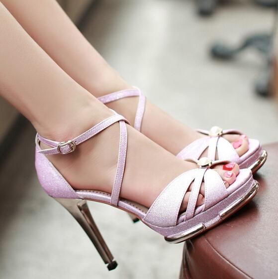 Cross Lacing Glitter Women Sandals Fashion Sexy High Heels Summer Wedding peep toe Platform Sandals size 34-39<br><br>Aliexpress