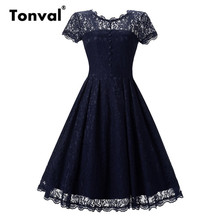 Buy Tonval Vintage 2017 Floral Lace Pleated Dress Women Short Sleeve Elegant Backless Party Sexy Dresses Retro 50s Summer Dress for $18.39 in AliExpress store