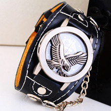 Hot outdoor sports  casual Watch spider clamshell Wide leather strap Bracelet Watches Men Lady decor wristwatches Clock series