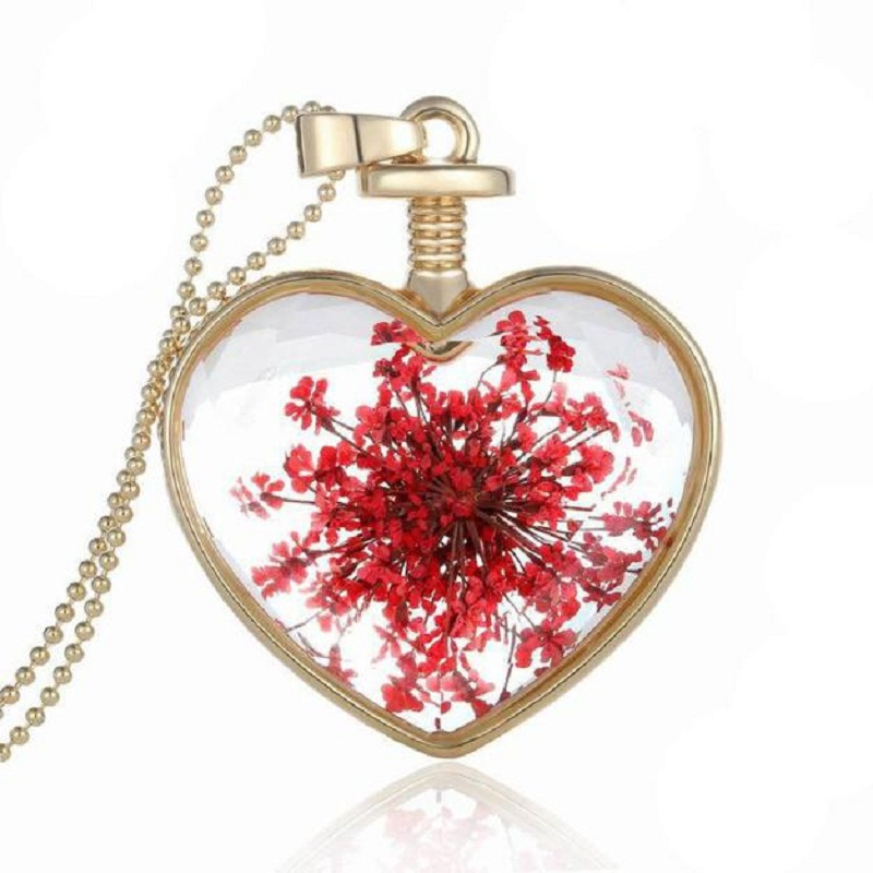 JU 28 Fairy Store 2016 Hot Selling Women Dry Flower Heart Glass Wishing Bottle Pendant Necklace(China (Mainland))