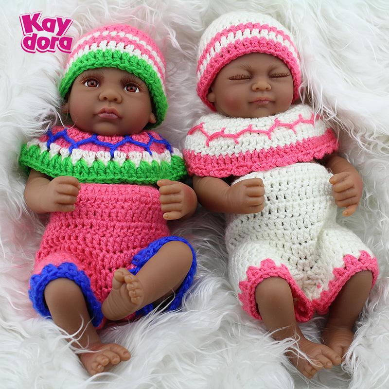 2PCS/SET Girl&Boy Doll Reborn Black Baby Dolls 10 Inch Lifelike Full Vinyl Washable Body Play Doll Bath Toys poppet babe(China (Mainland))