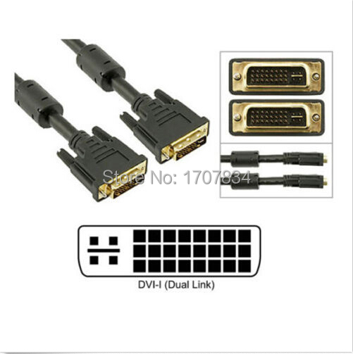 DVI-I Dual Link (24+5) Male to Male Digital Analog Video Cable Ferrites M/M 6FT - 10FT 1.8M - 3.0M(China (Mainland))