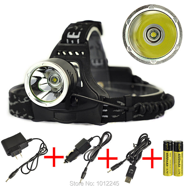 Headlamp 2000LM T6 LED Rechargeable Head Torch Light Camping Head Lamps+Charger+Car Charger+USB Charger+2x 18650 Battery