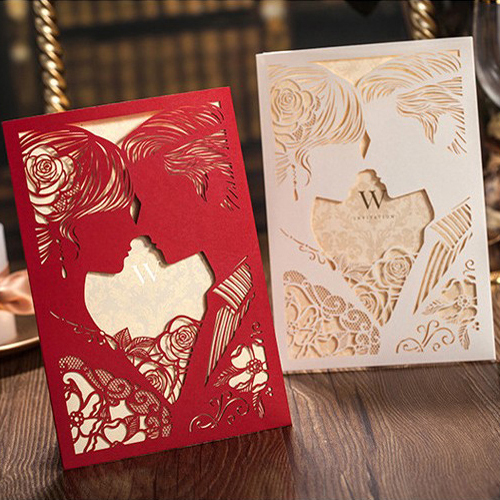 Rosy Bride & Groom Cut-out Free Personalized & Customized Printing Wedding Invitations Cards Custom (Set of 50) Free Shipping(China (Mainland))