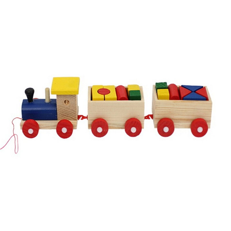 Wooden Intellectual Toys Train Fun Kids Baby Developmental Lovely Toddler Truck Set Geometric Blocks Enclosed Red Hauling Cable(China (Mainland))