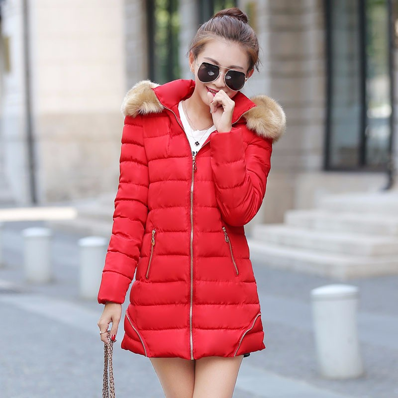 2016 Winter coat jacket new  Girls big yards long  of thick fur collar Slim Down padded jacket  for women Tops