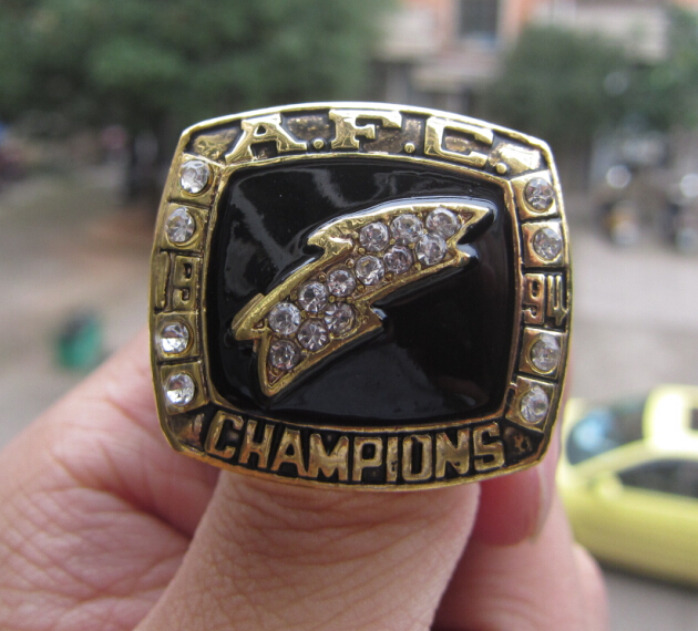 Free Shipping SAN DIEGO CHARGERS SUPER BOWL RING 1994 CHAMPIONSHIP RING SOLID BACK high quality for men sport(China (Mainland))