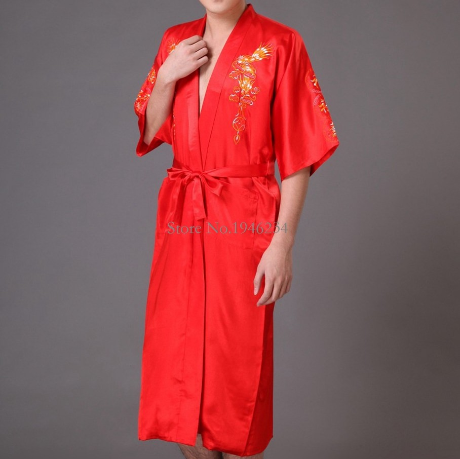 Hot Sale Navy Blue Chinese Men's Satin Robe Embroidery Kimono Bath Gown Spring Autumn Nightwear Size S M L XL XXL S0008