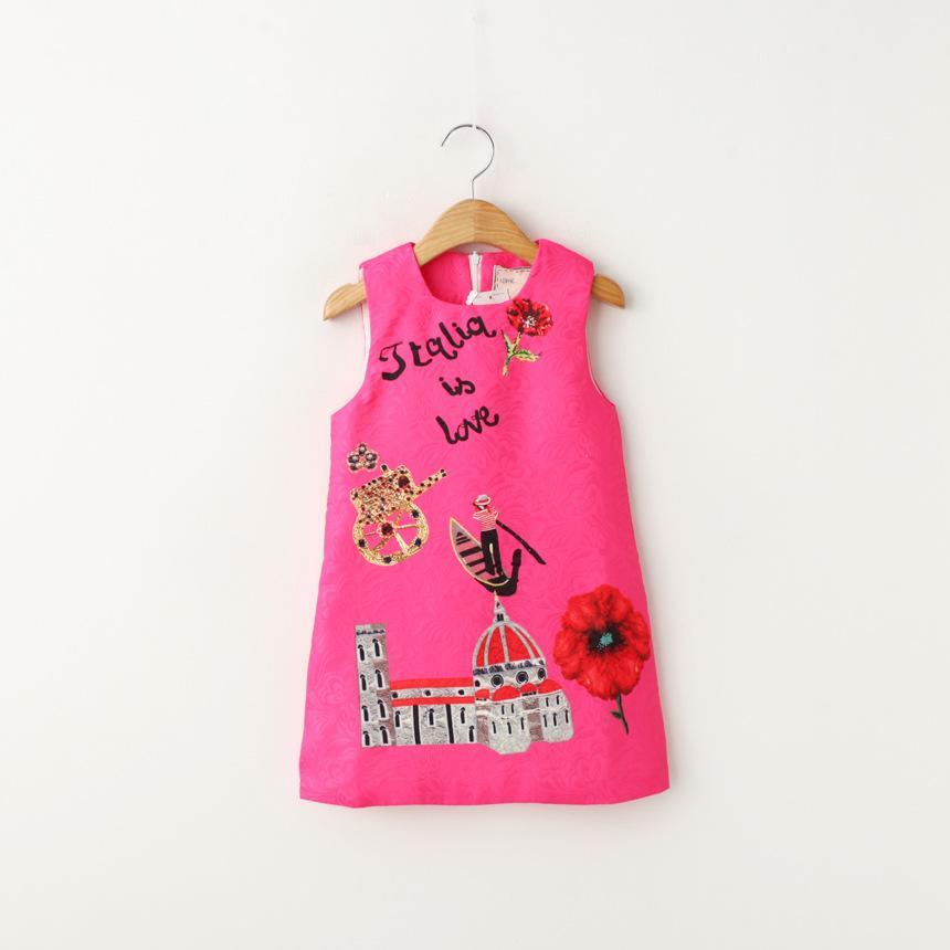Sweet Kids Girls Jacquard Sleeveless Dress Princess Letters Print Casual Western Dress Candy Color Fashion Dress 6pcs/lot wholes<br><br>Aliexpress