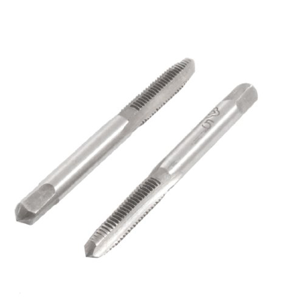 Special Sale !2 pcs Square Head HSS M5 3 Flutes Hand Screw Thread Metric Plug Taps