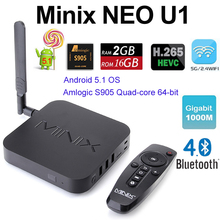 Minix NEO U1 Android Smart TV Box Amlogic S905 2G 16G 4K UHD Media Player Dual Band Wfii Bluetooth H.265 Google IPTV Mini PC