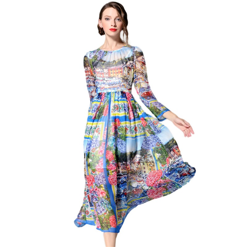Здесь можно купить  Runway Maxi Dresses 2016 Spring Summer New Translucent Silk Chinese Oil Printed Women Long Sleeve Robe Longue Femme 1940  Одежда и аксессуары
