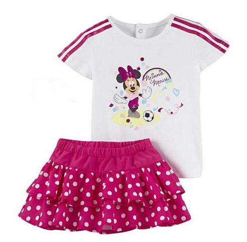 2016 Summer Fashion Cartoon Girls Clothing Set Minnie short-sleeve T Shirt + polka dot skirts Baby Kids Children casual suit(China (Mainland))