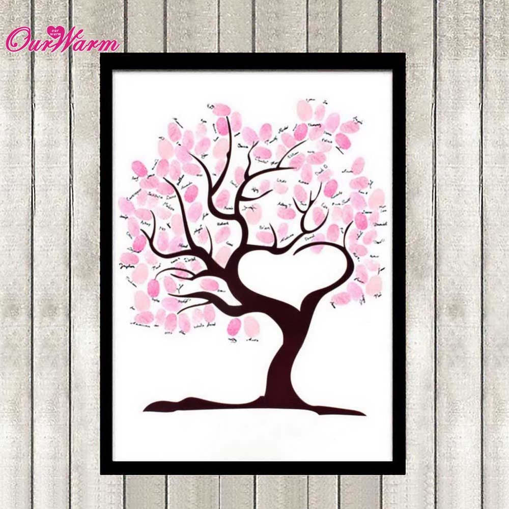 Wedding Fingerprint Tree Signature Guest Book for Wedding Party Graduation Sign in Figure Painting Size S/L Many Styles Optional(China (Mainland))