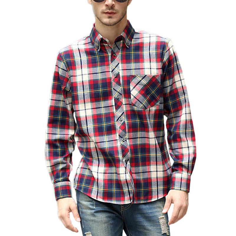 Red Plaid Dress Shirts For Men Fashion Grid Stitching