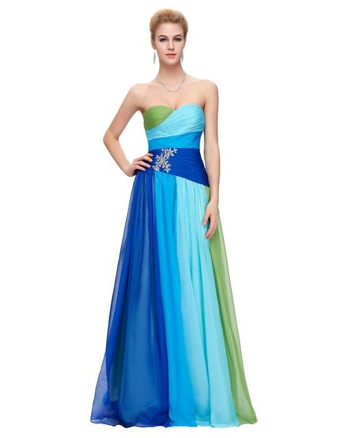 Новый красочный градиент сексуальная ломбер голубой длинные шифон пром платья 2016 ...