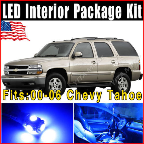 19pcs LED Interior Light Bulbs Package Kit 2000-2006 for Chevy Tahoe T10 W5W 194 168 2825 147 152 158 259  Ultra Blue Lamps -E(China (Mainland))